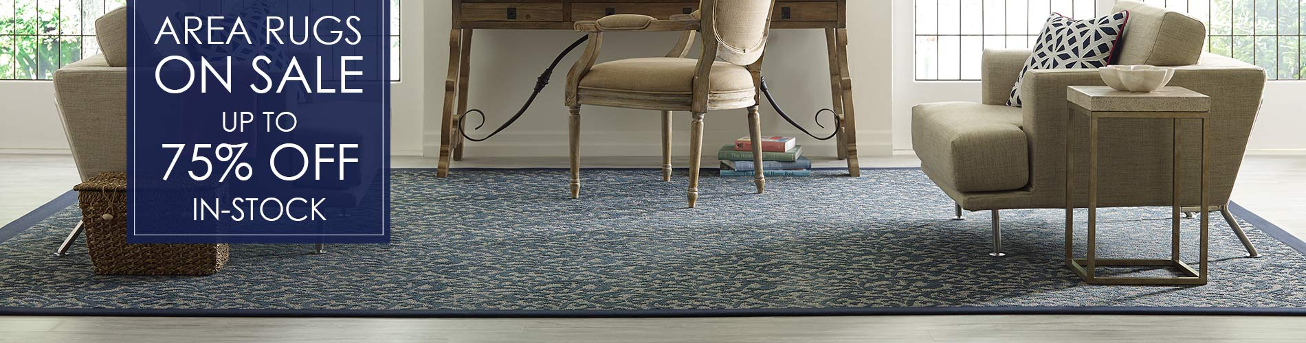 Up to 75% off on area rugs right now! Don't miss these great deals! Come visit our showroom in Portland, Maine.