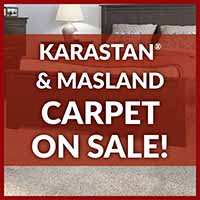 Karastan and Masland 100% wool carpet on sale during our Home for the Holidays storewide flooring sale.